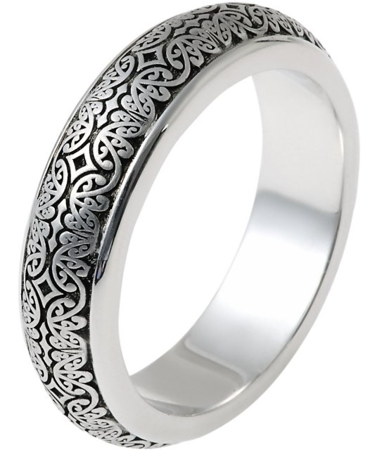 Item # V11475WE - 18kt white gold, 6.0mm wide, comfort fit, Verona Lace design wedding band. See V11474WE for matching ladies' ring.