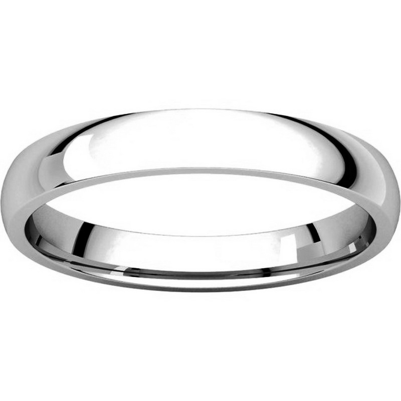 Item # V123791PP View 3 - Platinum Plain 3mm Wide Comfort Fit Wedding Band