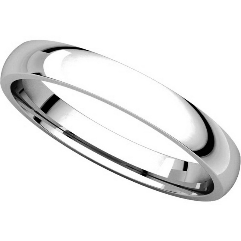 Item # V123791PP View 4 - Platinum Plain 3mm Wide Comfort Fit Wedding Band