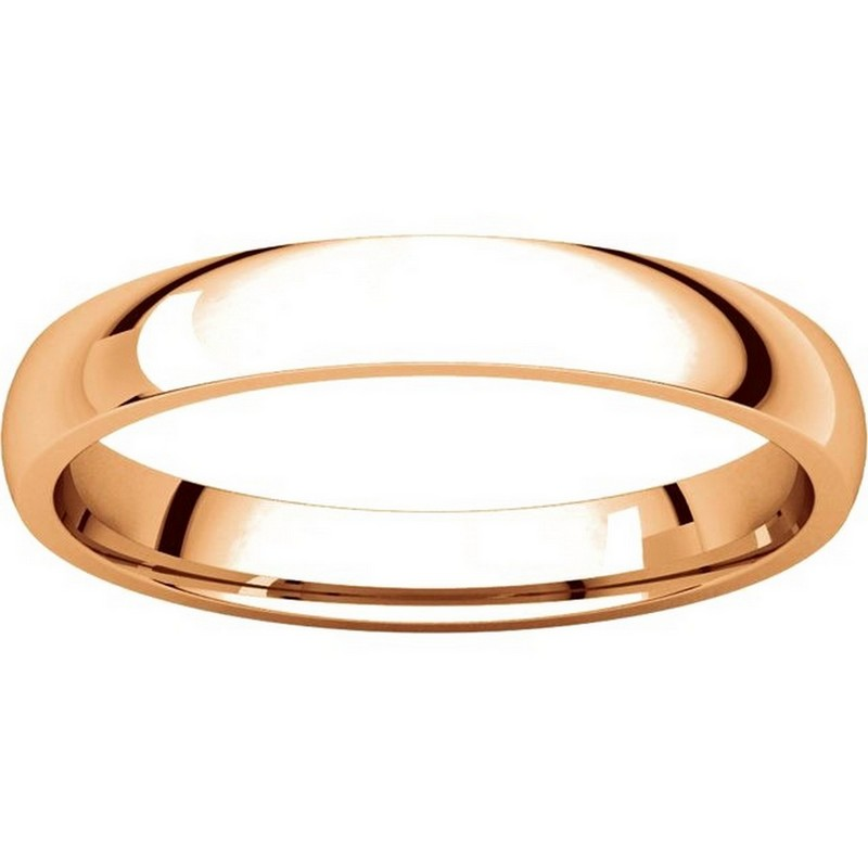 Item # V123791R View 3 - 14K Rose Gold Plain 3mm Comfort Fit Wedding Band