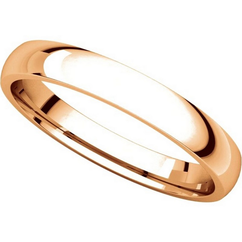 Item # V123791R View 4 - 14K Rose Gold Plain 3mm Comfort Fit Wedding Band