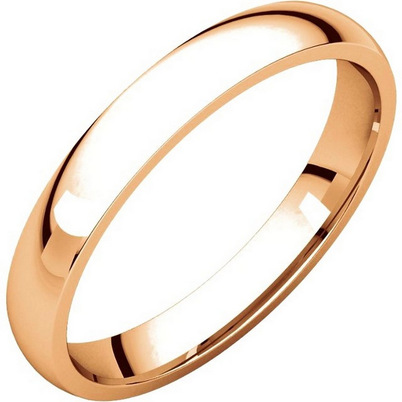 Item # V123791R - 14K Rose gold, 3.0 mm wide, comfort fit, wedding band. The finish on the ring is polished. Other finishes may be selected or specified.