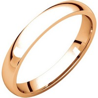 Item # V123791RE - 18K Rose Gold Plain 3mm Comfort Fit Wedding Band