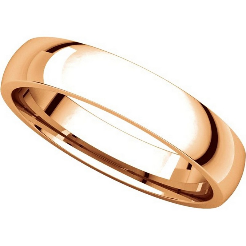Item # V123801R View 4 - 14K Rose Gold Traditional Plain 4mm Comfort Fit Band
