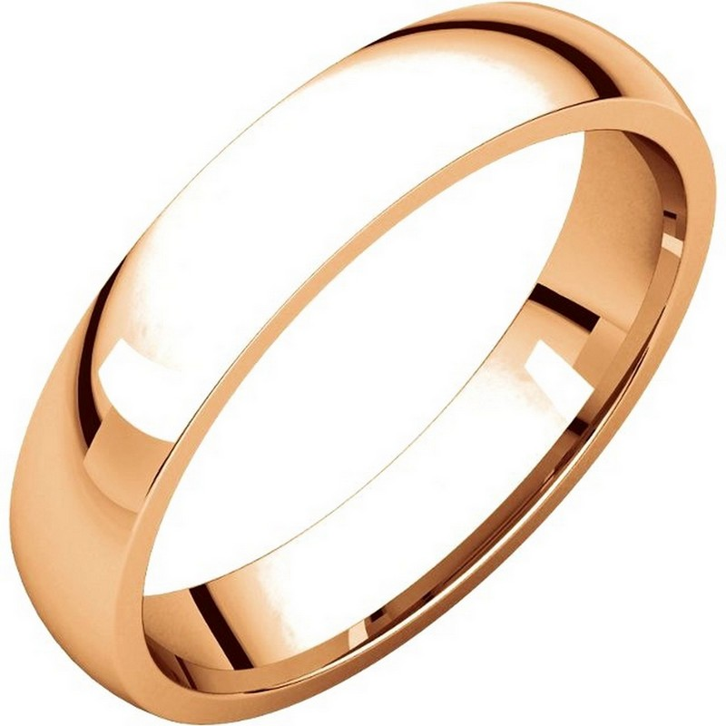 Item # V123801R - 14K Rose gold, 4.0 mm wide, comfort fit, wedding band. The finish on the ring is polished. Other finishes may be selected or specified.