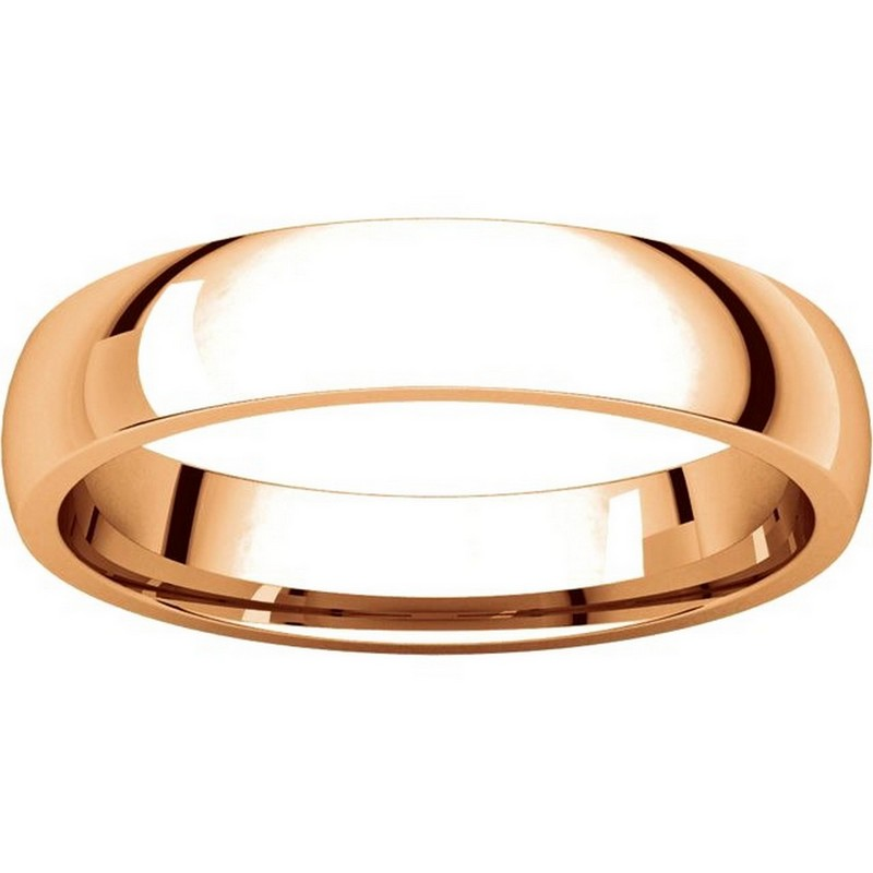 Item # V123801RE View 3 - 18K Rose Gold Traditional Plain 4mm Comfort Fit Band