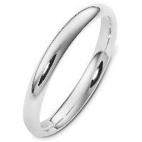 Item # VH123793AG - Silver 3mm Wide Heavy Comfort Fit Plain Wedding Band