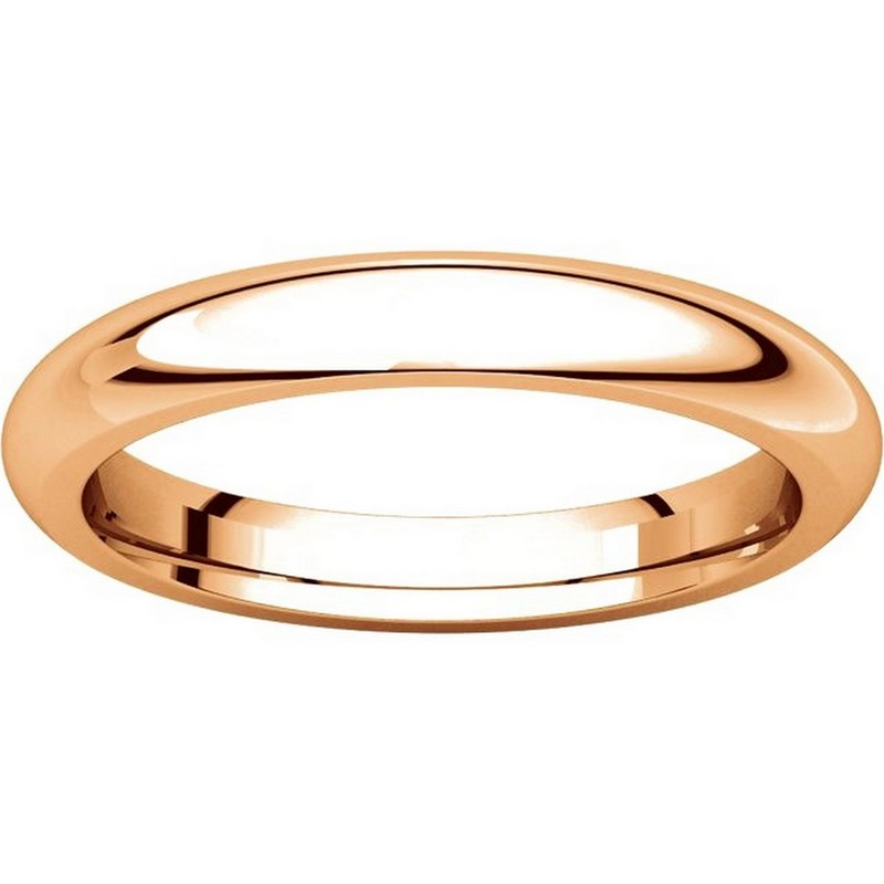 Item # VH123793RE View 3 - 18K Rose Gold 3mm Heavy Comfort Fit Plain Wedding Band