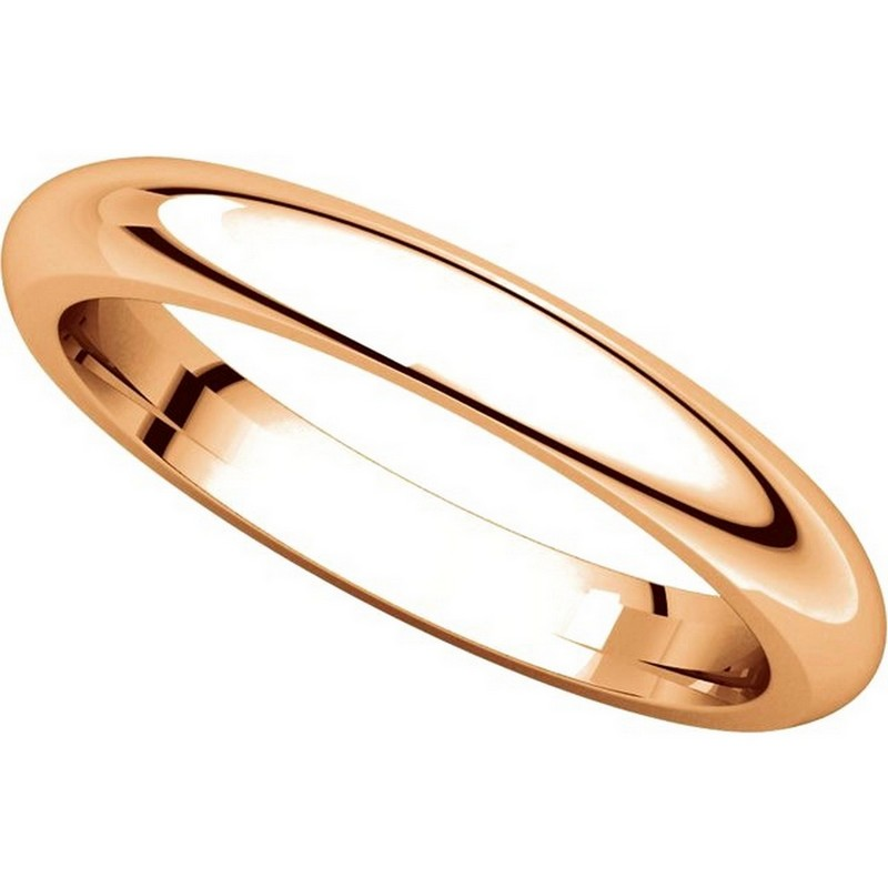 Item # VH123793RE View 4 - 18K Rose Gold 3mm Heavy Comfort Fit Plain Wedding Band