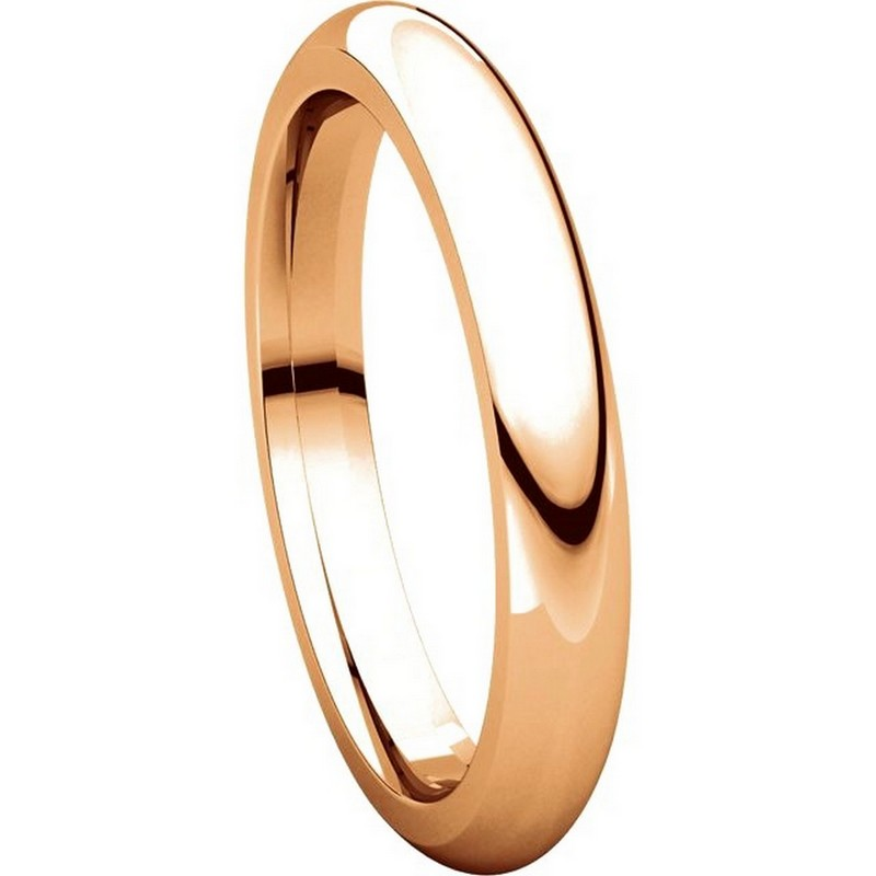 Item # VH123793RE View 5 - 18K Rose Gold 3mm Heavy Comfort Fit Plain Wedding Band