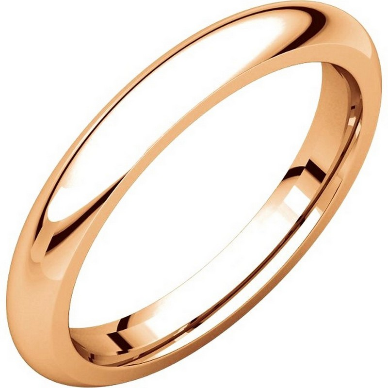 Item # VH123793RE - 18K Rose gold, 3.0 mm wide, heavy comfort fit, wedding band. The finish on the ring is polished. Other finishes may be selected or specified.