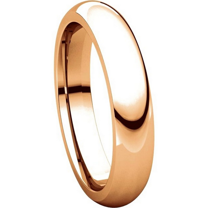 Item # VH123804RE View 5 - 18K Rose Gold 4mm Heavy Comfort Fit Plain Wedding Band