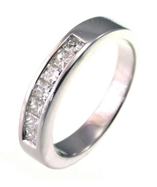 Item # W21482WE - 18K, white gold, comfort fit, approximately 3.5 mm wide 7 princess cut diamonds, anniversary band. Diamonds together weigh approximately 0.50 ct and are graded as VS in clarity H in color. The finish on the ring is polished. Other finishes may be selected or specified.