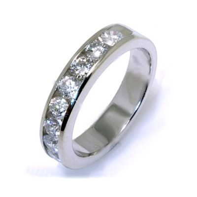 Item # W2150075W - 14K, white gold, comfort fit, approximately 4.0 mm wide 11 round brilliant cut, diamonds anniversary band. Diamonds together weigh approximately 0.75 ct and are graded as VS in clarity H in color. The finish on the ring is polished. Other finishes may be selected or specified.