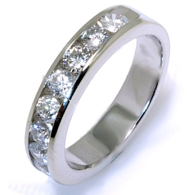 Item # W2150100WE - 18K, white gold, comfort fit, approximately 4.0 mm wide 11 round brilliant cut, diamonds anniversary band. Diamonds together weigh approximately 1.0 ct and are graded as VS in clarity H in color. The finish on the ring is polished. Other finishes may be selected or specified.