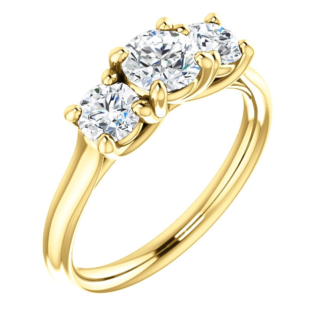 Item # W3217100 - One  14 K yellow gold, three diamond anniversary band. Diamonds together weigh approximately 1.0 ct and are graded as VS2 in Clarity H in color. The finish on the ring is polished. Other finishes may be selected or specified.