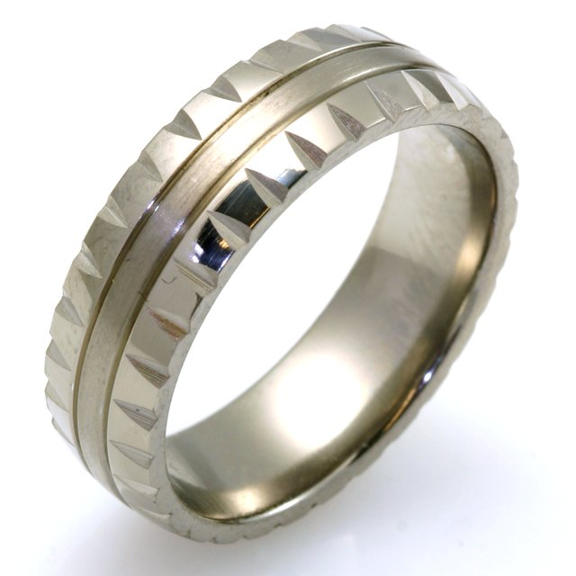 Item # WB7850TI - One titanium comfort fit wedding band. The wedding band has unique design center matte finish and the sides are high polished.