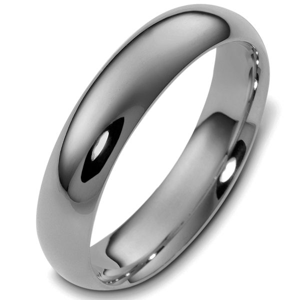 Item # X123811TI - Titanium, 5.0 mm wide comfort fit plain wedding band. The finish on the ring is polished. Other finishes may be selected or specified.