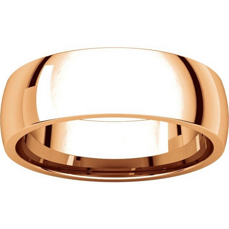 Item # X123821R View 3 - 14K Rose Gold 6mm Comfort Fit Plain Wedding Band
