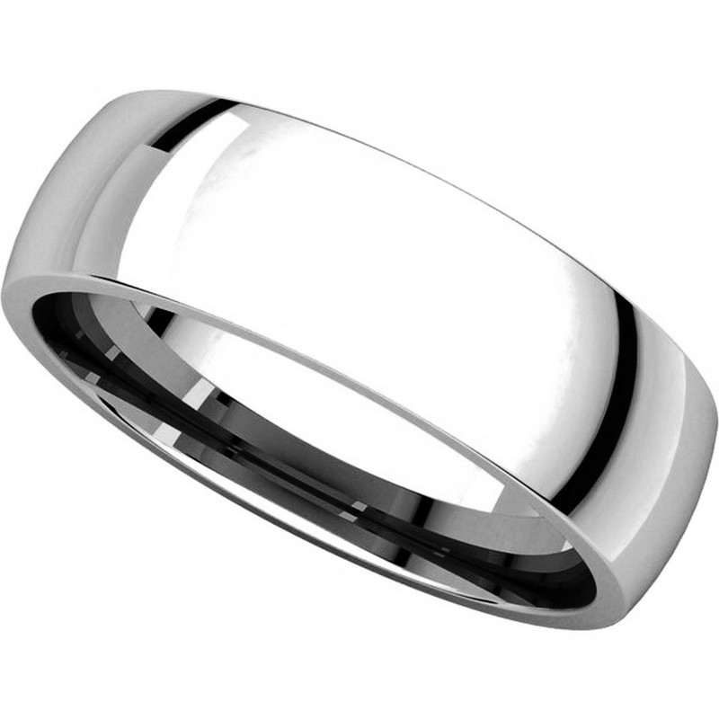 Item # X123821WE View 4 - 18K White Gold 6mm Plain Wedding Band His and Hers Comfort Fit
