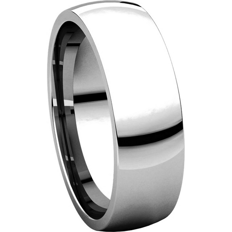 Item # X123821WE View 5 - 18K White Gold 6mm Plain Wedding Band His and Hers Comfort Fit
