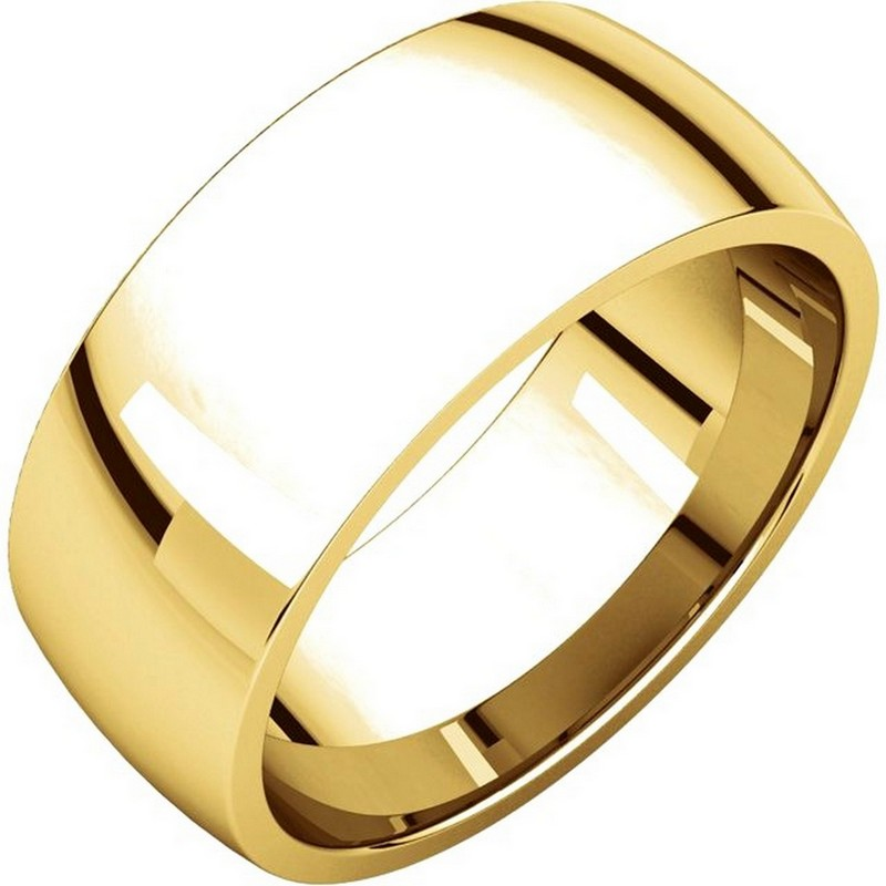 Item # X123831 - 14K gold, 8.0 mm wide,  comfort fit, wedding band. The finish on the ring is polished. Other finishes may be selected or specified.