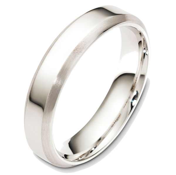 Item # X126391WE - 18K white gold, comfort fit, 5.0 mm wide wedding band. The edges are beveled with a matte finish and the center is polished. Other finishes may be selected or specified.