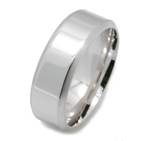 Item # X133161W - 14K white gold, comfort fit, 8.0 mm wide wedding band. The edges are beveled with a matte finish and the center is polished. Other finishes may be selected or specified.