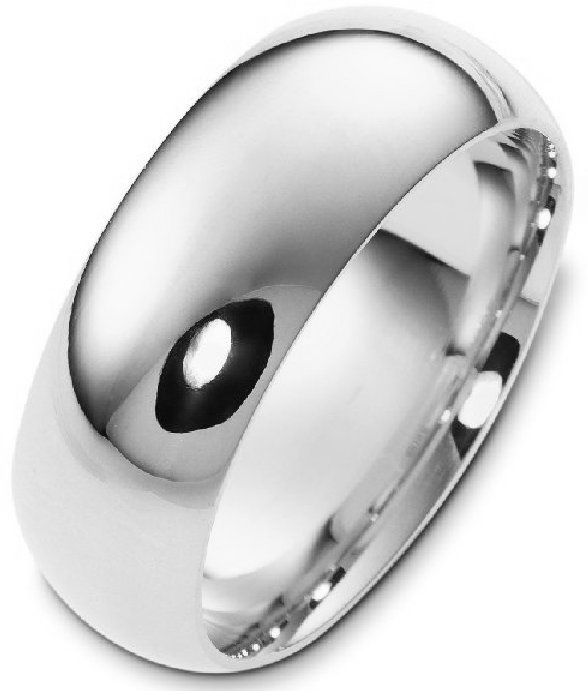 Item # XH1168310W - 14 kt white gold, plain  comfort fit, 10.0 mm wide wedding band. The whole ring is a polished finish. Different finishes may be selected or specified.