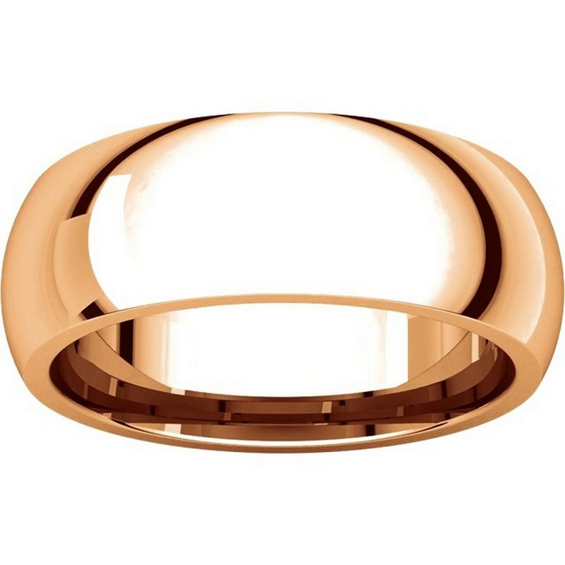 Item # XH116837RE View 3 - 18K Rose Gold 7mm heavy Comfort Fit Plain Wedding Band