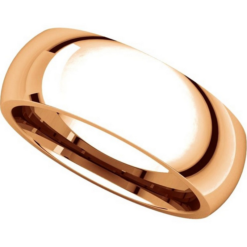 Item # XH116837RE View 4 - 18K Rose Gold 7mm heavy Comfort Fit Plain Wedding Band
