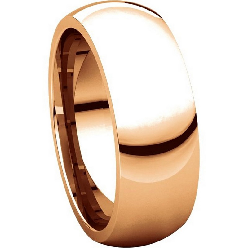 Item # XH116837RE View 5 - 18K Rose Gold 7mm heavy Comfort Fit Plain Wedding Band