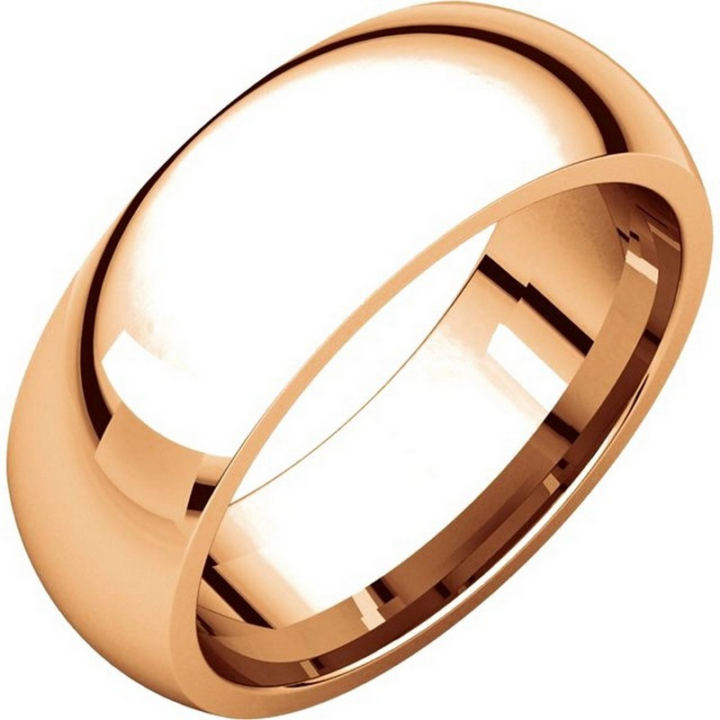 Item # XH116837RE - 18K Rose gold, heavy comfort fit, 7.0 mm wide, plain wedding band. The finish on the ring is polished. Other finishes may be selected or specified.