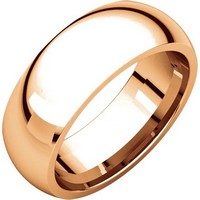 Item # XH116837RE - 18K Rose Gold 7mm heavy Comfort Fit Plain Wedding Band