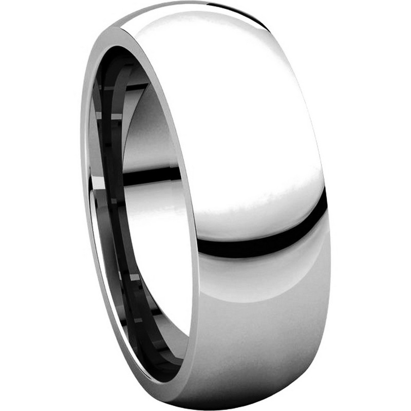 Item # XH116837WE View 5 - 18K White Gold 7mm heavy Comfort Fit Plain Wedding Band