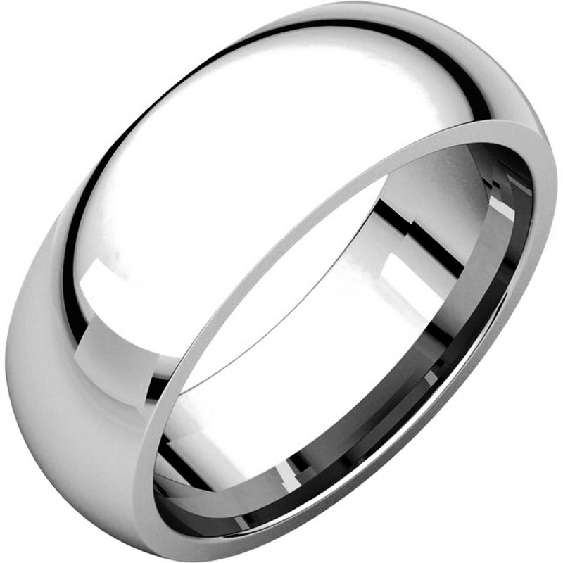 Item # XH116837WE - 18K white gold, heavy comfort fit, 7.0 mm wide, plain wedding band. The finish on the ring is polished. Other finishes may be selected or specified.