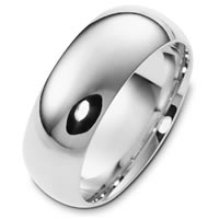 Item # XH123831WE - 18K White Gold 8mm Comfort Fit Wedding Band