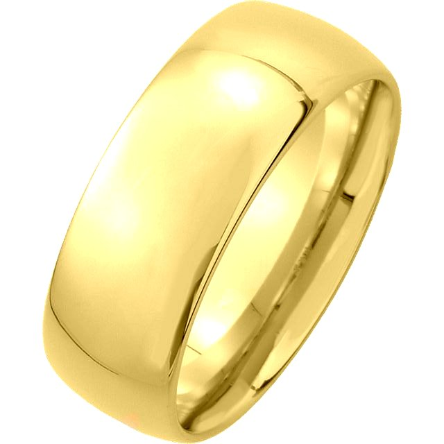 Item # XM116837 - 14K gold, 7.0mm wide medium weight, comfort fit wedding band. The finish on the ring is polished. Other finishes may be selected or specified.