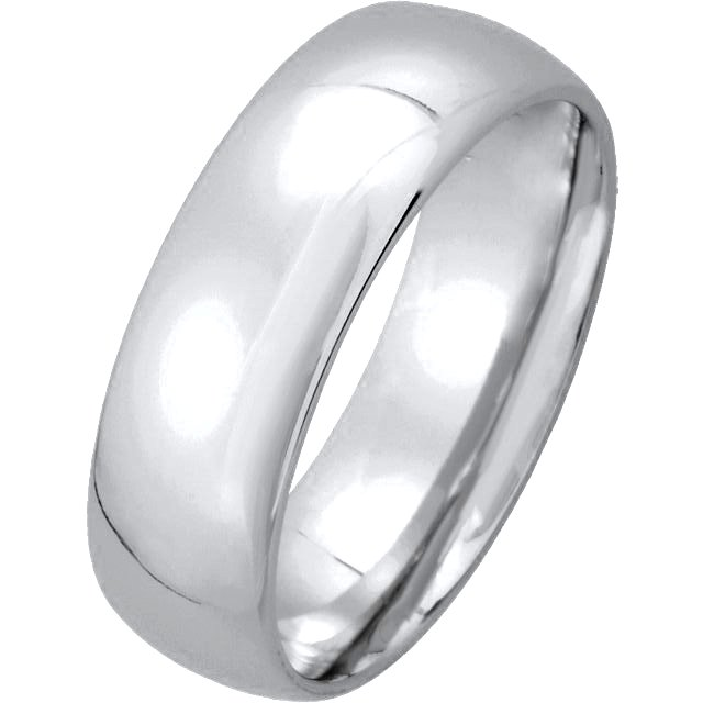 Item # XM123826W - 14K white gold, 6.0 mm wide, comfort fit, wedding band. The finish on the ring is polished. Other finishes may be selected or specified.