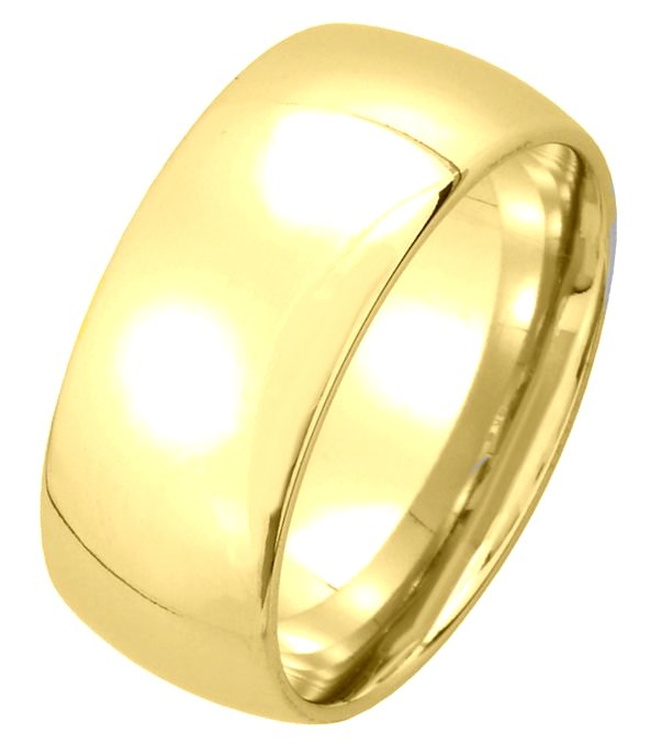 Item # XM123838 - 14K gold, 8.0mm wide medium weight, comfort fit wedding band. The finish on the ring is polished. Other finishes may be selected or specified.