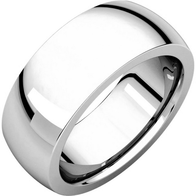 Item # XVH123838W - 14K white  gold 8.0mm wide very heavy comfort fit wedding band.