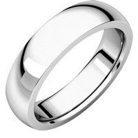 Item # XVH23826WE - 18K White Gold 6mm Comfort fit Very Heavy Plain Wedding Band