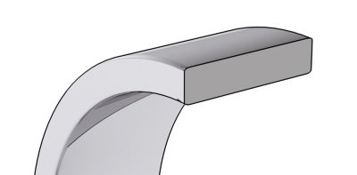 Flat Pipe Cut Wedding Bands Cross Section