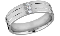 Diamond 14K white Gold Wedding Rings