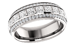 Diamond and 18K Gold Wedding Bands